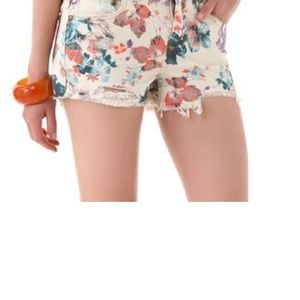Free People Floral Cutoff Raw Hem Shorts